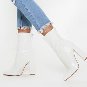 Pretty Little Thing White Croc Booties